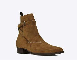 2019 new Fashion designer brand England pointed toe wyatt men boots Buckle Strap slp ankle luxury suede boots size 38-46 ck25011241