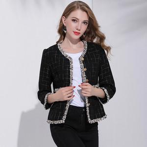 Estrella con el párrafo 2019 del otoño el nuevo corto de tweed estilo de las damas pequeña fragancia temperamento chaqueta de mujer salvaje