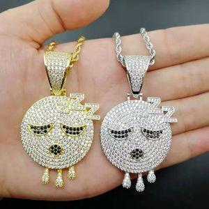 хип-хоп сонные смайлики кулон ожерелья для мужчин и женщин роскошные золотые серебряные бриллианты спальные смайлики смайлики лица 18 К позолоченные медные украшения