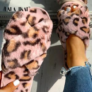 LALA Ikai Mulheres Outono Inverno Chinelos Fluffy Leopard Entrecruzamento Plano Chinelos Casual Feminino Indoor Início XWA10127-4