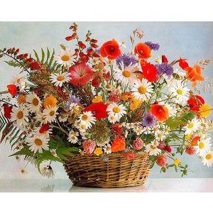 DIY картина маслом по номерам цветы тема 50 * 40 см / 20 * 16 дюймов на холсте для украшения дома наборы для взрослых [без рамы]