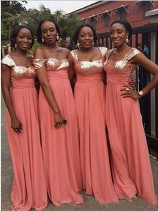 Glittering Coral Sequined Bridesmaid Dresses Cheap Long 2020 Chiffon Empire Beach Off the shoulder With Sleeves Party prom Evening Dress