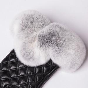 Guanti Fashion-MPPM Real Rex Rabbit Fur Guanti da donna in vera pelle per guanti touchscreen invernali
