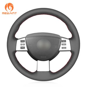 MEWANT Black Genuine Leather Wrap Car Steering Wheel Cover for Nissan Altima 2005-2006 Maxima 2004-2008 Murano 2003-2007 Quest