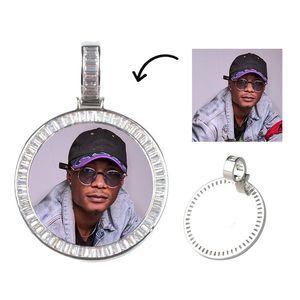 Hot Sale Personalisierte Bild-Foto-Anhänger Halskette für Frauen-Mann-Gedächtnis-runde hängende Halskette mit Tennis-Kette