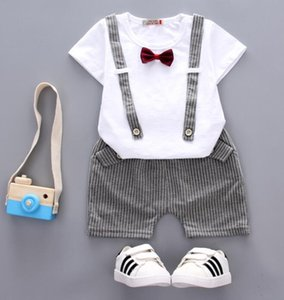 2020 Summer Boys Sport Suit Fashion Casual Solid Short Sleeve Turn-down Collar Children's Clothing Sets PulloverT-Shirt + Pants