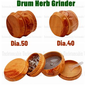 Drum Style Hard Plastic Herb Grinder For Tobacco 40MM 50MM 4 Piece Acrylic Smoking Herb Grinder With Wooden Wood Crusher Leaf Design