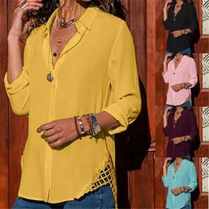 여성 캐주얼 쉬폰 블라우스 옷깃 목 긴 소매 솔리드 느슨한 블라우스 탑 20ss 여성 Blusas Mujer 드 모다