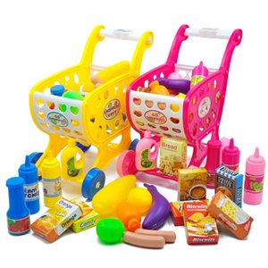 37pcs Mini Supermarkt Einkaufswagen Spielzeug Simulation Basket Kunststoff Gemüse Spielzeug für Kinder Trolley Mädchen Pretend Play Game