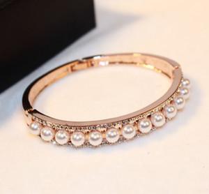 New fashion ins luxury designer super glittering diamond elegant pearls rose gold bangle bracelet for woman girls 19cm