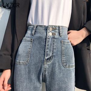LYZCR Estate Mamma Skinny Jeans Donna 2020 sottile della vita dei jeans alto per le donne Button Black Women Vintage Pocket Jean Femme