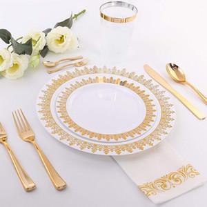 25 pcs Rose Or Jetable En Plastique Couverts Vaisselle 1pcs Nappe 7pcs Ballon Pour Mariage Douche D'anniversaire Fournitures de Fête D'anniversaire