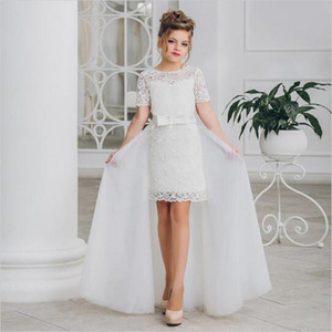 Новое прибытие 2020 Белые платья девушок цветка с отделяемым юбки День рождения шнурка девушки платья O-шеи Дети партии платье