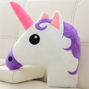 Adorable Plush Stuffed Unicorn Head Pillow 3D Lifelike Unicorn Animals Bolster Pillow Decorative Kids Cot Room Sofa Bed Pillow