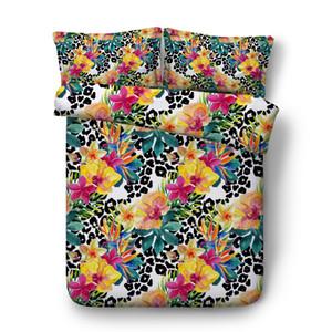 ليوبارد طباعة غطاء لحاف تعيين الأخضر النباتية أوراق النبات المعزي تغطية الزهور حديقة الفتيات في سن المراهقة الكبار 3PC الفراش هندسي غطاء السرير