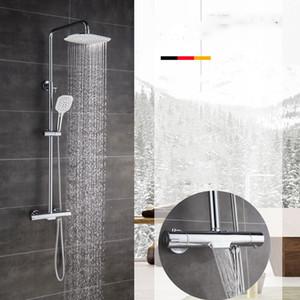 닦았 골드 컬러 욕실 온도 조절 제어 샤워 꼭지 세트 벽 라운드 디자인 레인 샤워 헤드 황동 재질 탑재