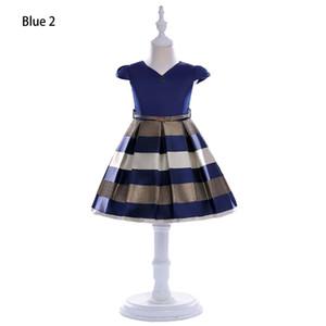 여자 패션 디자이너 드레스 여름 브랜드 작은 비행 소매 줄무늬 공주 드레스 귀여운 활 여자 무대 스커트 높은 품질