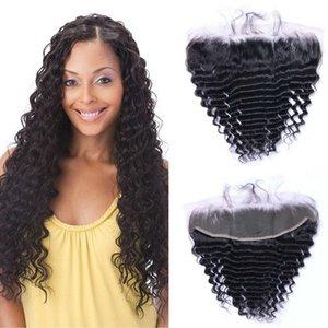 Кружева Фронтальной Замкнутость младенец монгольского волоса Virgin Hair Deep Wave человек фронтальных волосы 13x4 швейцарского шнурка