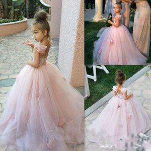 Симпатичные Blush Маленькие девочки цветок девочки платья 2020 Романтические 3D цветочные цветы бальное кружева Тюль Дешевые Дети Первое причастие платье