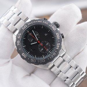 حركة NEW رجل رياضة ساعة المعصم F1 MONTRE اليابان الكوارتز جهاز توقيت الأسود وجه المعصم الصلب حالة MONTRE دي لوكس