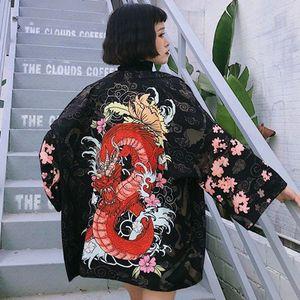 Traditionnelle japonaise Harajuku Kimonos Loose Women Shirt Plage Kimono Cardigan Femme Summer Hip Hop Style de Kimono Yukata