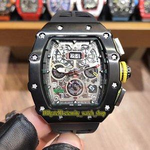 Precio especial R RM11-03RG BIGH BIG DATE DIAL JAPÓN MIYOTA AUTOMÁTICO RM 11-03 MENS RELOJ PVD Caja negra de goma Strap Sport Designer relojes