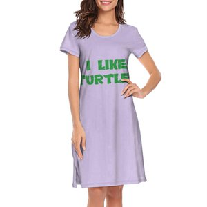 Nighties for women I Like Turtles printing band short sleeve nightdress Multicolored turtles Never Forget tortoise Rabbit Turtle Weapon