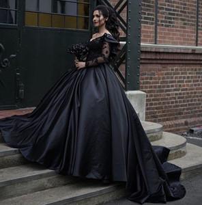 2020 Black Victorian Gothic Wedding Dresses Elegant One Shoulder Long Sleeves Dubai Arabic Bohemain Bridal Ball Gown