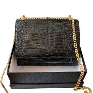 las mujeres del diseñador de los bolsos clásicos bolsos de alta calidad de una cadena de hombro diagonal de cuero genuino salida de la bolsa en línea vienen con la caja