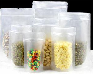10pcs fosco plástico transparente zip lock embalagem Bag Stand Up Pouch Resealable Doypack Zipper café Nuts Armazenamento Embalagem Bag