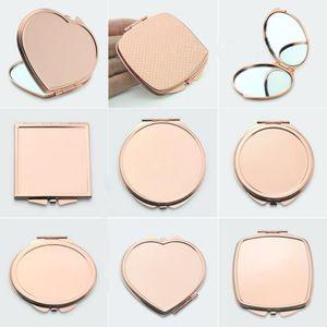 Specchio per trucco in tinta unita in metallo tondo Astuccio tascabile in pop-up doppio lato Accessori per la bellezza in oro rosa F2290