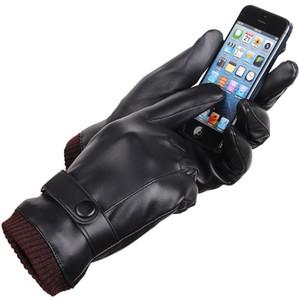 Herbst-Winter-Männer PU-Leder verdickte Touch Screen Warm volle Finger Windundurchlässig Driving Coral Fleece-Handschuhe Handschuhe Schwarz