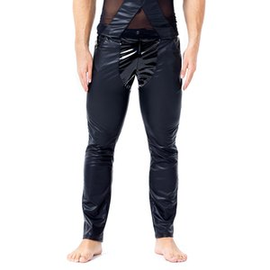Sexy Gay Men Black Slim Fit Straight Trousers PU Leather Leggings Pants Wet Look Novelty Long Johns Tight Nightclub Male Leather Rock Pants
