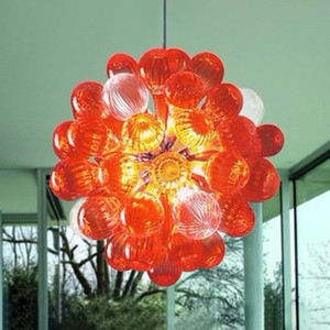 Mouth Blown Glass Crystal Sphere Chandelier LED 16 Inches Hanging Pendant Lights Orange Modern House Decoration Living Room Light