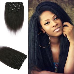 Kinky прямой клип в расширениях 7ps / набор 120g натуральный черный для чернокожих женщин 100% перуанских натуральных человеческих волос в наличии G-легкий