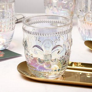 2020 new Rainbow Iris Flower embossed Glass Cup Amber Elegant Palace Fengshui Crystal Glass Beverage Cup for home use