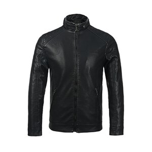 2019 Autumn And Winter New Style PU Leather Coat Simple Stand Collar Plus-sized Menswear plus Velvet Leather Jacket