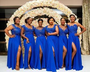 Royal Blue A-Line Шифон Длинные Платья Подружки Невесты Сексуальные Сплит Формальные Пользовательские Кружевные Аппликации Vestidos De Bridesmaid Honor Of Maid 2019