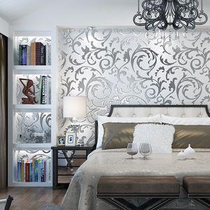 Neue Heimat Wand Moderne minimalistische 3D-Stereo-TV-Hintergrund Silber Gold Tapeten Wohnzimmer Schlafzimmer europäischen Haken Blumenblatt Wandtapete