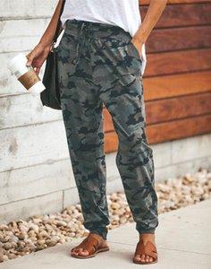 Kadın Pantolon Bandaj Kamuflaj Baskı İpli Rahat Bahar Sonbahar S-XL Avrupa Ve Amerika Moda Bayanlar Pantolon
