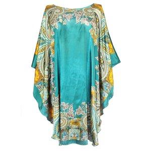 Sexy Female Silk Rayon Robe Bath Gown Nightgown Summer Casual Home Dress Printed Loose Sleepwear Plus Size Nightwear Bathrobe