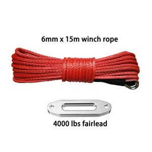 """6mm * 15m 1/4"""" x 50ft ATV Winch line Aggiungi 4000lbs Hawse passacavo, Corda sintetica, Barca verricello, verricello"""