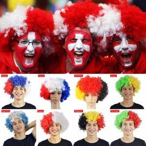 Hot new! Parrucca Bandiera Nazionale per il 2018 Brasile Francia ETC Bandiera Parrucca Calcio Carnevale Fans Supplies