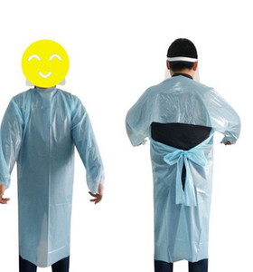 CPE Apron Disposable Isolation Gowns long sleeve CPE Protective Gowns Protective Suit 190*115cm Disposable Raincoats KKA7964