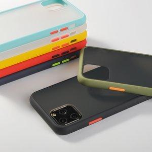 Caso de telefone de choque à prova de chocolate cor de amortecedor para iphone 11 11 pro máximo 7 8 6 6 s mais x xr xs max transparente macio acrílico tampa traseira