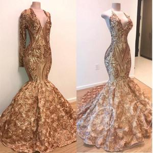 2020 preto Africano Sexy ouro Mermaid Prom Vestidos mangas compridas profundo decote em V Lace apliques de lantejoulas menina vestidos de noite barata