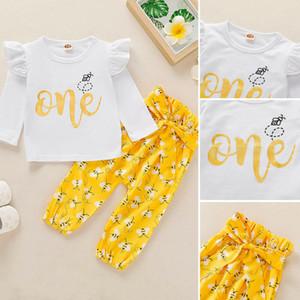 2020 nuovo modo appena nato neonate 1st Birthday manica Top pagliaccetto ghette i vestiti del bambino abbigliamento