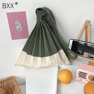 [BXX] Knitting plissadas Bolsas Patchwork Drawstring Saco de Compras Meninas Causal Weave Shoulder Bag Coreano Japonês Chic Bolsa HK583