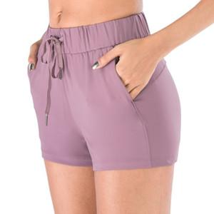 루 느슨한 졸라 매는 끈 반바지 요가 높은 허리 단색 운동 디자이너 여름 운동 디자이너 반바지 여자