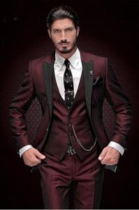 Yakışıklı Groomsmen Tepe Yaka Damat Smokin Bir Düğme Erkek Takım Elbise Düğün / Balo İyi Adam Blazer (Ceket + Pantolon + Yelek + Kravat) 888